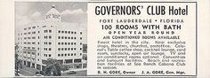 Governors Club Hotel Fort Lauderdale Florida Rooms w Bath 1956 Travel Tourism AD