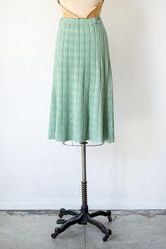 vintage 1970s 30s revival light green knit skirt