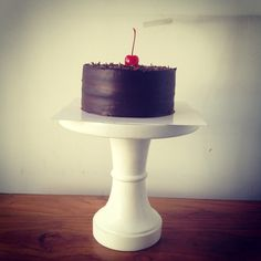 """Im a sucker for simple cakes!  Peanut Butter Chocolate 5""""er finished with Chocolate Ganache with a maraschino cherry on top"""