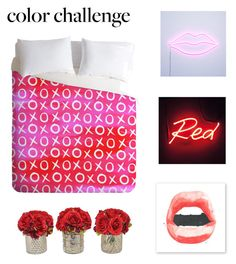 """""""Red and Pink"""" by jillibean0025 ❤ liked on Polyvore featuring interior, interiors, interior design, home, home decor, interior decorating, xO Design, Seletti, The French Bee and colorchallenge"""