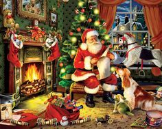 Checking It Twice - 1000pc Jigsaw Puzzle by White Mountain - SeriousPuzzles.com: https://e.sshops.co/p4c4 #Christmas #Santa #Holidays #naughtyornice