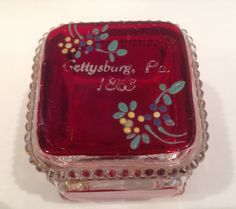 1863 Gettysburg Pennsylvania 2 Piece Glass Box, Old Souvenir, Ruby Flash, Glass Box, Housewares, Trinket Box, Keepsake , Patterned Feet by Sunshineoftreasures on Etsy