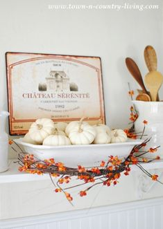 Pretty fall vignettes with baby boos