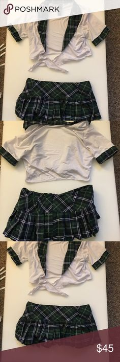 School Girl Outfit good Condition! Top fits like a S/m and bottoms fit more of a m/l.   Bottoms do have a Zip side as well as elastic, so they can stretch. Gently used Outfit. Other