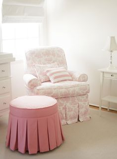Pink Ottoman with Pleated Skirt - #nursery