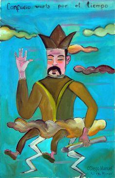 Confucio, acrylic on canvas, 70 x 45 cm. Pintura en venta de la Serie Retratos. Painting for sale of the Series Portraits.