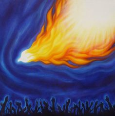 Holy Spirit fire in a dove descending (symbolizing the Holy Spirit) on a crowd of worshipers with upraised hands. Light is shining out of th...