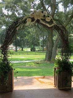 Wedding Backdrop - Beautiful Grapevine Arch with Cascading ferns & ivy
