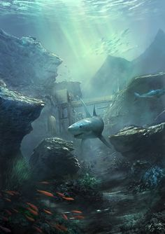 Under Ocean Photography Ocean and under art Concept Art World, Environment Concept Art, Ocean Art, Ocean Life, Shark Art, Sea Shark, Underwater City, Ocean Tattoos, Art Carte