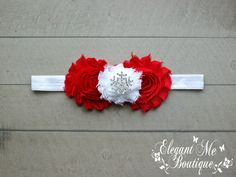Handmade Custom Red and White Christmas Holiday Inspired Crystal Rhinestone Headband - Perfect for Newborns to Adults - Made to Match - pinned by pin4etsy.com
