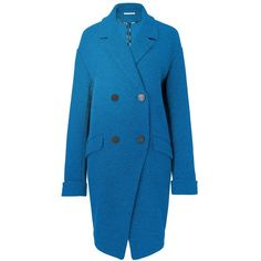 DVF Finola Wool Coat ($399) ❤ liked on Polyvore featuring outerwear, coats, peacock, diane von furstenberg coat, woolen coat, double-breasted coat, blue double breasted coat and diane von furstenberg