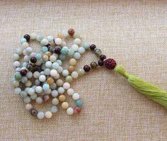Amazonite Mala Necklace  Healing Necklace Meditation by BBTresors