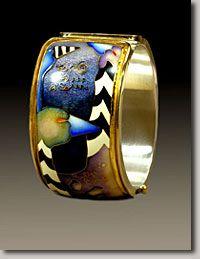 Colette Studio Oval Cuff  A Gathering Cloisonne Enamel/Gold/Silver  1982