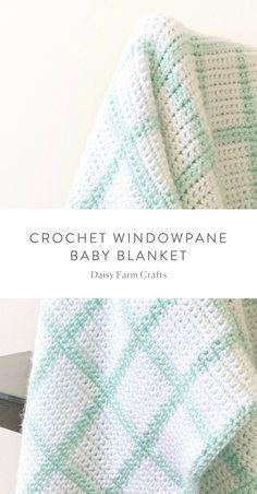 Free Pattern - Crochet Windowpane Blanket #crochet