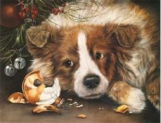 """Sheltie Puppy Deluxe Christmas Cards, from Dogstuff.com. Printed on heavy, fine embossed linen paper and featuring beautiful full color artwork by Shirley Deaville inside and out, these 6"""" x 7.75"""" greeting cards are sure to leave a lasting impression.  Inside reads, """"Have yourself a merry little Christmas..."""