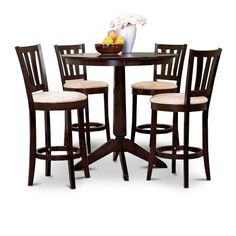 """Espresso Counter Height Dining Bar Table and 4 Bar Stools Set by The Furniture Cove. $459.88. Table and 4 Chairs. Espresso Finish. Counter Height Set. The solid wood round table measures 36"""" round and is 36"""" tall. It features a nice dark espresso / cappuccino  The stools are also done in an espresso finish. The beige / tan cushion has a microfiber texture. The seat cushions measure 16 1/2"""" x 18 1/8"""" x 38"""" high. There is also a footrest for resting your feet comfortably."""