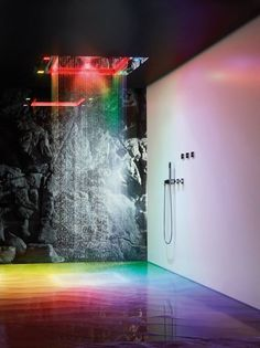 Stainless steel overhead shower with aromatherapy and chromotherapy ~ http://walkinshowers.org/6-incredible-rainfall-shower-head-examples.html