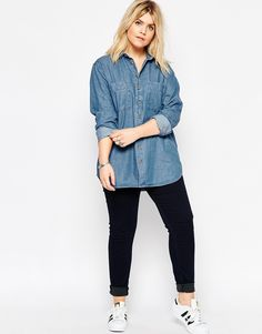 ASOS Curve | ASOS CURVE Denim Shirt in Marlin Retro Blue at ASOS · Fashion  For WomenFashion ...