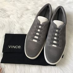 Vince slip-on suede sneaker The canyon sneaker is the perfect and stylish sneaker. Easy pull on style. Steel bone color. Offers welcome through offer tab. No trades. Vince Shoes Sneakers