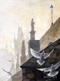 Prague Morning On The Charles Bridge Painting