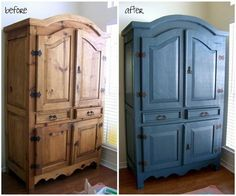 """This is our armoire. Furniture Makeovers: The Power of Paint - The look of this boring pine armoire earned it the name """"beastly"""". Painting it in just the right blue completely updated it. More photos and details here. Armoire Makeover, Bedroom Furniture Makeover, Refurbished Furniture, Repurposed Furniture, Dresser Makeovers, Furniture Dolly, Bar Furniture, Furniture Stores, Luxury Furniture"""
