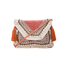 SHASHI Lella Clutch (365 RON) ❤ liked on Polyvore featuring bags, handbags, clutches, shoulder strap handbags, fringe handbags, beaded purse, flap handbags and shashi