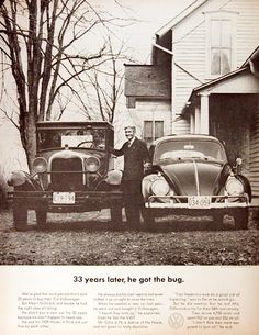 1963 Volkswagen Beetle original vintage ad. Recounts the story of Albert Gillis who owned a 1929 Model A Ford for 33 years and chose a 1963 VW Bug as his next new car.