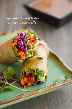 Rainbow vegetable spring rolls. Fun to make. Serve as an appetizer, snack or light meal. Customize to your preference and serve with a creamy dipping sauce. You can even let everyone build their own for a fun experience.