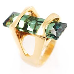 St.Tropez Style Emerald Crystal Cocktail Costume Ring
