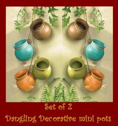 Decorative ceramic mini pots dangling hanging Santa Fe Spanish gourmet southwest $24.95   http://stores.ebay.com/Slems-Gift-Store  *OR* order directly from me at dslem3@yahoo.com and receive 20% off any item in the store!