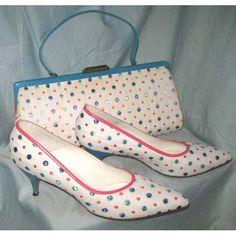 Miller polka dot shoe and bag set. Vintage Purses, Vintage Bags, Vintage Handbags, Vintage Shoes, Vintage Accessories, Vintage Outfits, Vintage Fashion, 1930s Fashion, Vintage Dresses