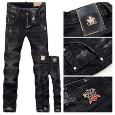 New Arrival autumn fashion Famous DSQ Brand Men's Jeans Black Washed Denim pants Frayed Straight D2 jeans Free Shipping $43.50