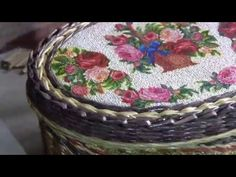 Cestos tejidos en papel con tejido cuerda y vueltas decorativas - YouTube