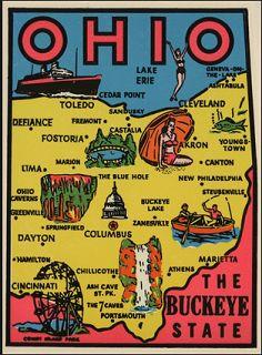 Ohio The Buckeye State Vintage Style Travel Decal / Vinyl Sticker, Luggage Label Buckeye Lake, The Buckeye State, Cedar Point, Luggage Labels, Lake Erie, Vintage Photographs, Vintage Travel, Cincinnati, Ohio