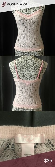 """Victoria's Secret angels knit crochet lace tank XS Victoria's Secret angels blush millennial pink  knit crochet lace tank XS / S  Pit to pit 13"""" Shoulder 9.5"""" Length 18"""" at its shortest   Not what you're looking for? Feel free to browse my closet for other occasions: Winter, spring, summer, fall, birthday, New Year's Eve, Valentine's Day date, Graduation, Prom, Purim, St. Patrick's Day, Easter, Earth Day, Cinco de Mayo, Mother's Day, EDC, Coachella, Memorial Day, Comic Con, 4th of July…"""