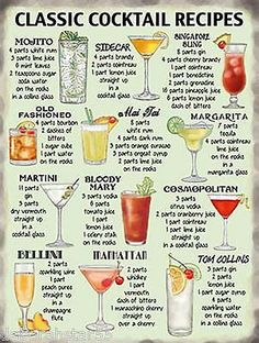 Kitchen wall decor bar sign watercolor cocktail recipe for Cocktail 69 recipe