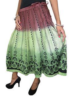 Bohemian Skirt Green Brown Lehnga Printed Midlength Skirts, Gift Idea Mogul Interior http://www.amazon.com/dp/B00OA2LBRK/ref=cm_sw_r_pi_dp_98Crub0J2868A