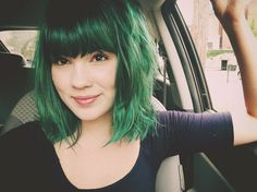 Green bob - super cute. Think it might be a wig though