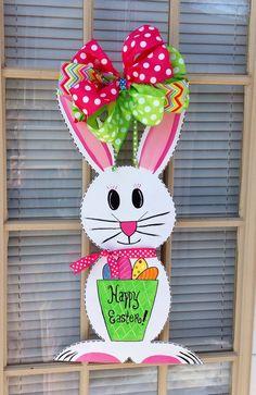 Bunny Rabbit Easter Farmhouse Country Initial Monogram Vine Wreath ...