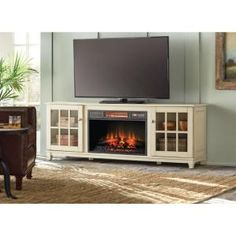 Home Decorators Collection, Westcliff 66 in. Low Boy Media Console Electric Fireplace in Bleached Linen, 89482 at The Home Depot - Mobile