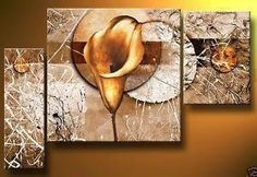 FRAMED 3 PIECE BROWN & WHITE LILY WALL ART! MODERN ART SALE FREE SHIPPING – YOUR ART & DECOR