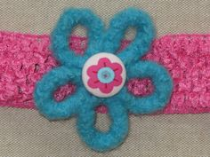 Headband Felt Flower Pink and Turquoise by Blossomshkd on Etsy, $11.00    Bright and colorful! This item was just posted in my shop.
