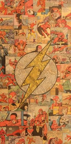 Flash Logo Comic Collage by Mike Alcantara Lego Dc Comics, Arte Dc Comics, Marvel Comics, Supergirl, Comic Books Art, Comic Art, Flash Comic Book, Comic Book Crafts, Comic Collage