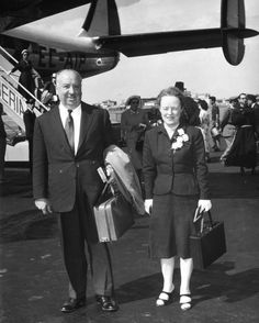 Alfred Hitchcock with His Wife Alma Reville Leaving Rome for South Africa Photo