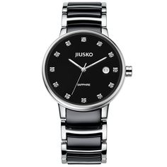 Jiusko Mens Classic Analog Quartz Round Dress Wrist Watch - Stainless Steel Ceramic - Sapphire - Date - Black Dial - 90MSB02. FINE DRESS WATCH for MEN; Class and fashion are combined in this fine timepiece. From professional meetings to wedding parties, this wrist watch makes a luxury statement. HIGH QUALITY; Japanese Seiko Quartz movement - second hand - practical calendar DATE display at the 3:00 position (date window does not compromise the 3rd hour diamond marker) - 3 Year battery life…