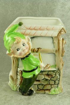 Vintage 1965 Relpo Pixie Elf Leprechaun at Wishing Well Planter - Samson Import