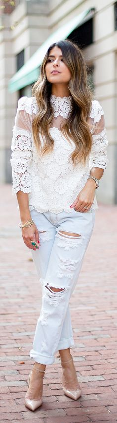 Distressed + lace.