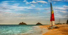 Natureza, céu, nuvens, mar, barco, praia, natureza, barco, céu, nuvens, mar, praia Vetor