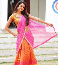 """""""Rowdy"""" movie heroine Shanvi in half saree photos from """"Pyar mein padipoyane"""" movie.Shanvi is eye catchy in pink dual color half saree with pink thread flo Most Beautiful Indian Actress, Beautiful Actresses, Indian Dresses, Indian Outfits, Samantha In Saree, Indian Celebrities, One Piece Dress, Half Saree, South Indian Actress"""