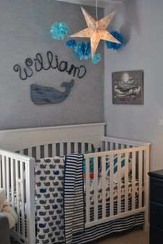 Project Nursery - Boy Whale Nursery Crib View